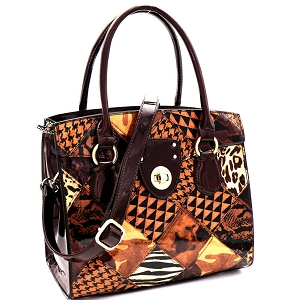 JXW3621 Turn-Lock Accent Animal Print Patchwork Patent Structured Satchel Brown