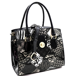 JXW3621 Turn-Lock Accent Animal Print Patchwork Patent Structured Satchel Black