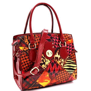 JXW3621 Turn-Lock Accent Animal Print Patchwork Patent Structured Satchel Burgundy