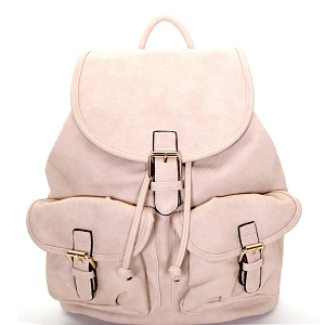 LM1307 Multi Pocket Drawstring Fashion Backpack Beige
