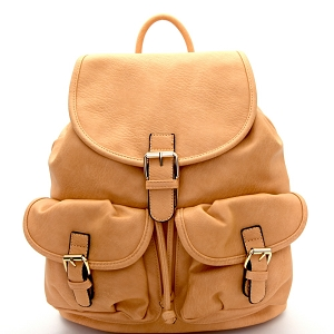 LM1307 Multi Pocket Drawstring Fashion Backpack Tan