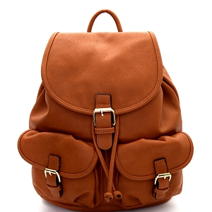 LM1307 Multi Pocket Drawstring Fashion Backpack Brown