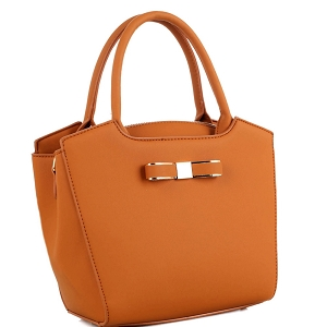 LS5028 Bow Accent 2-Way Satchel Light-Brown