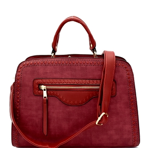 LW1400 Textured Woven Accent Multi-Compartment Satchel Burgundy