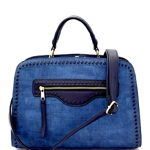 LW1400 Textured Woven Accent Multi-Compartment Satchel Dark-Blue