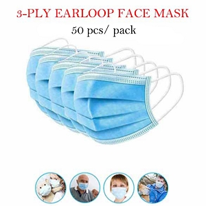 Disposable 3-Ply Earloop Face Mask 50pcs Pack