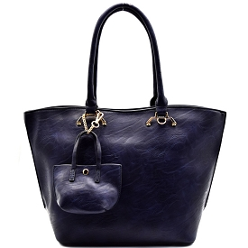 MTF62426 Hardware Accent Bucket Tote with Mini Bag Navy
