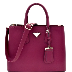 OCK510617-1 Triangular Logo Structured Saffiano Satchel Wine
