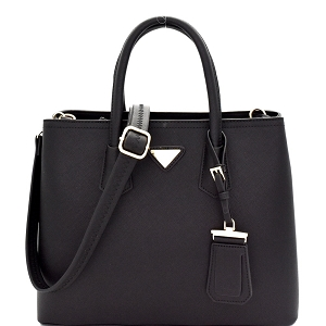 OCK510617-1 Triangular Logo 2-Way Structured Saffiano Satchel Black