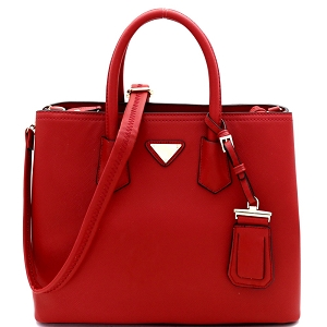 OCK510617-1 Triangular Logo 2-Way Structured Saffiano Satchel Red