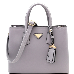 OCK510617-1 Triangular Logo Structured Saffiano Satchel Gray