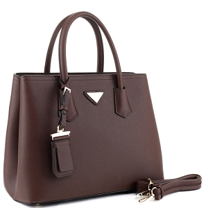 OCK510617-1 Triangular Logo 2-Way Structured Saffiano Satchel Coffee