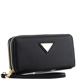 OCKW0095-1 Saffiano Double Zip-Around Wristlet Triangular Logo Wallet Black