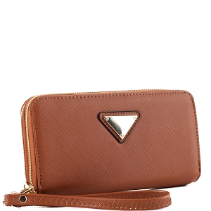 OCKW0095-1 Saffiano Double Zip-Around Wristlet Triangular Logo Wallet Brown