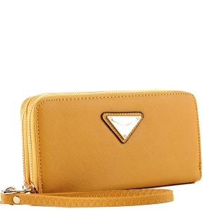 OCKW0095-1 Saffiano Double Zip-Around Wristlet Triangular Logo Wallet Mustard