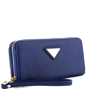 OCKW0095-1 Saffiano Double Zip-Around Wristlet Triangular Logo Wallet Navy