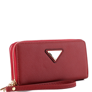 OCKW0095-1 Saffiano Double Zip-Around Wristlet Triangular Logo Wallet Red