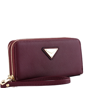 OCKW0095-1 Saffiano Double Zip-Around Wristlet Triangular Logo Wallet Wine