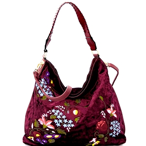 PW1539 Flower Embroidery Velvet Whipstitched Strap Hobo Wine