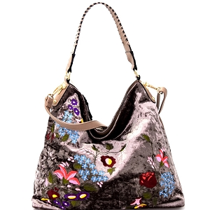 PW1539 Flower Embroidery Velvet Whipstitched Strap Hobo Stone