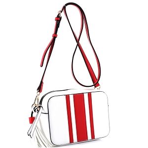 QS2543 Tassel Accent Center Striped Camera Bag Cross Body Red/White