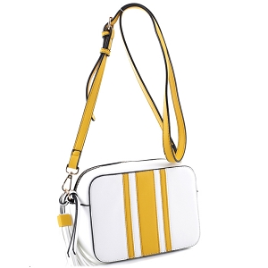 QS2543 Tassel Accent Center Striped Camera Bag Cross Body Yellow/White