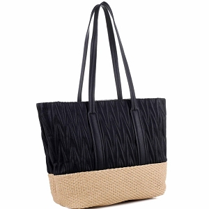 QS3213 Woven Straw Mixed-Material Quilted Large Tote Black/Tan