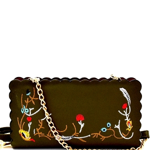 W1617 Wavy-cut Embroidered Wallet Cross Body Olive