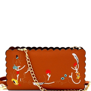 W1617 Wavy-cut Embroidered Wallet Cross Body Brown