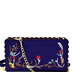 W1617 Wavy-cut Embroidered Wallet Cross Body Royal-Blue