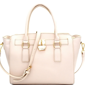 WS1601 Cute Padlock Accent Classy Structured Satchel Beige