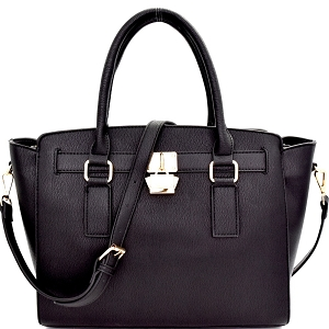 WS1601 Cute Padlock Accent Classy Structured Satchel Black
