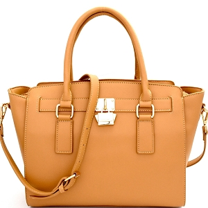 WS1601 Cute Padlock Accent Classy Structured Satchel Tan