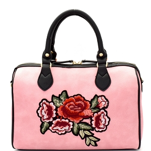 EB1441 Flower Embroidery Two-Tone Boston Satchel Pink
