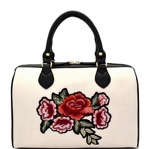 EB1441 Flower Embroidery Two-Tone Boston Satchel Ivory
