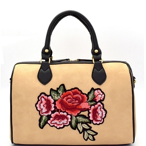EB1441 Flower Embroidery Two-Tone Boston Satchel Beige