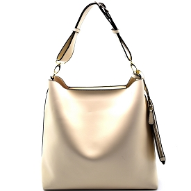 FL1258 Belted Adjustable Strap Hobo with Pouch Beige