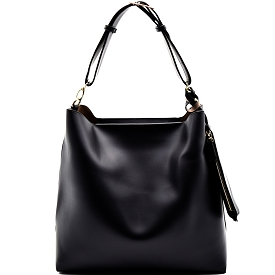 FL1258 Belted Adjustable Strap Hobo with Pouch Black