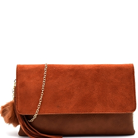 PP1172 Tassel and Pom Pom Accent Leather Flap Clutch Brown