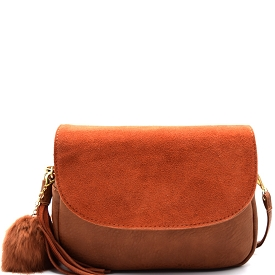 PP1173 Tassel and Pom Pom Accent Leather Flap Crossbody Brown