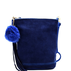 PP1176 Tassel and Pom Pom Accent Leather Bucket Crossbody Blue