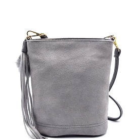 PP1176 Tassel and Pom Pom Accent Leather Bucket Crossbody Gray