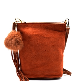 PP1176 Tassel and Pom Pom Accent Leather Bucket Crossbody Brown