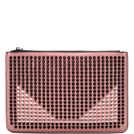 ST1276 Stud Accent Flat Clutch Cross Body Pink