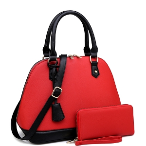 BC2453D Classy Color Block Saffiano Dome Satchel Wallet SET Red