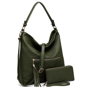 BC3339 Slouchy Tassel Pocket 2 Way Textured Hobo Wallet SET Olive