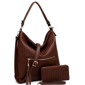BC3339 Slouchy Tassel Pocket 2 Way Textured Hobo Wallet SET Stone Brown