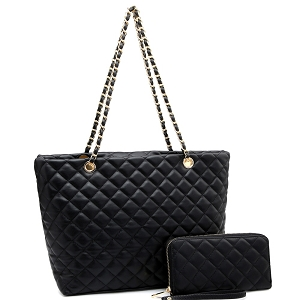 CC2870 Quilted Chain Shopper Tote Wallet SET Black