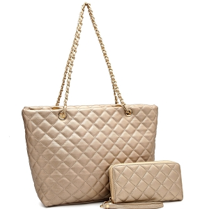 CC2870 Quilted Chain Shopper Tote Wallet SET Champagne