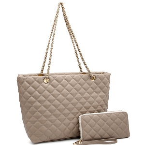 CC2870 Quilted Chain Shopper Tote Wallet SET Taupe